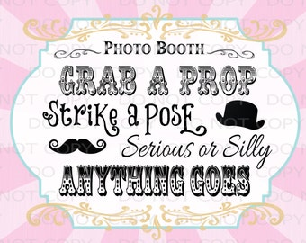 "Printable DIY Vintage Circus Photo Booth Prop sign - 8x10 and 8.5""x11"" INSTANT DOWNLOAD"