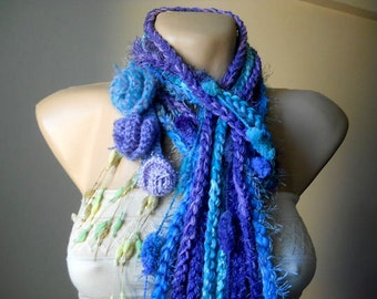 CROCHETED SCARF / Women Accessories Scarves Loop Elegant Winter Romantic Warm / Muffler Hand Knitted Neckwarmers Chic Soft Gift Ideas