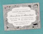 Printable Digital File - Couples Shower Linen Doodles Invitation - Honey Do - Customizable - Tools, Garden, Gadgets, Kitchen, Wedding, Co-Ed