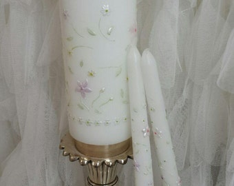 "Pastel Floral Embellished Unity Candle Set ""The Petal"""