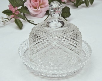 Lidded Cut Glass Butter Dish / Cheese Dish / Round Covered Butter Dish