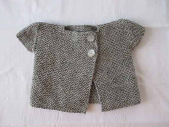 Beautiful Capped Sleeve Cardigan in Grey Marl - 100% pure wool -  Handmade in New Zealand - AVAILABLE to POST NOW