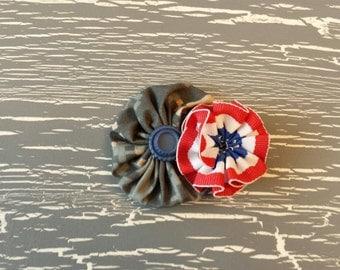 Digital Camo and Patriotic Flower Hair Clip