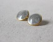 Gray Post Earrings, Gray Studs, Grey Earrings, Lightweight Vintage Earrings