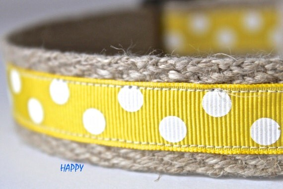 Polka Dot Dog Collar, Yellow Dog Collar, Adjustable Dog Collar, Pet Collar, White Polka Dots Collar