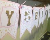 Twinkle Twinkle Happy Birthday Banner: Pennant Style Die Cut. Gold Glitter. Little Star. Stars. Elegant. Light Pink. Girly. Girlie. Fancy.