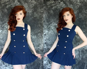 Vintage 1970s Navy Blue Pleated Drop Waist Sailor Mini Dress