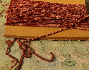 1 yard antique genuine French chenille trim russet shade rayon genuine  1920s ribbonwork millinery