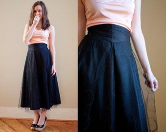 "Vintage Tulle Circle Skirt with Circle Glitter Print Basque Waistline Retro Pin Up 26"" Waist"