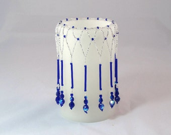 "Candle bead covers. 3"" X 5"" candles.  Beaded covers to add a new dimension to you candles."
