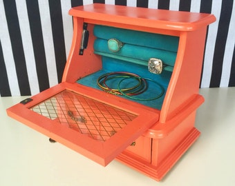 Jewelry Box in Coral Orange Turquoise- Nyla