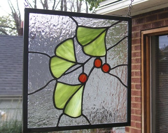 "Three Ginkgo Leaves with Berries -10"" x 10""--Stained Glass Window Panel"