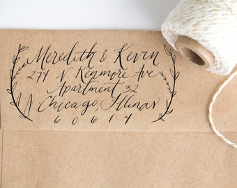 Laurel Address Stamp Handwritten with Custom Calligraphy