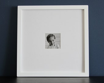 16x16 Picture Frame with Mat / Gallery Style / Choose Your Mat Opening Size / Black, White, Gray, Brown