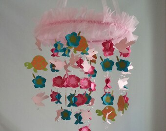 Pink Green Teal Hibiscus Bird Turtle Tropical Baby Nursery Mobile Baby Mobile Available in ANY color combos