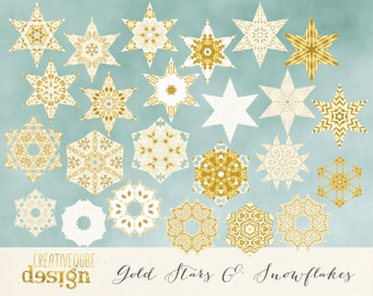 Christmas Clipart Digital Clip Art, Vectors - White and Gold Foil Stars and Snowflakes