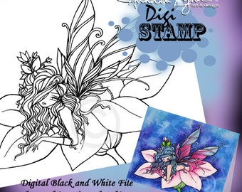 PRINTABLE Flower Fairy Fae Digi Stamp Coloring Page Fantasy Art Hannah Lynn