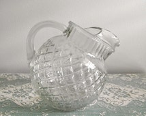 Vintage 1940s Clear Glass 32 Ounce Anchor Hocking Waterford WaffleTilted Ball Shape Pitcher -  Juice, Water or Milk  4 Cup Pitcher