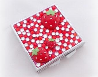 Cute strawberry rhinestone pill box, trinket box, teen girl gift