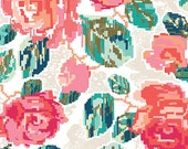 Cream Coral Navy and Aqua Floral Jersey Knit Fabric, Recollection by Katarina Roccella for Art Gallery Fabrics, 1 Yard JERSEY KNIT