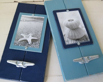 Set of 2 Plank Frames Navy and Turquoise Nautical Boat Cleat for 4X6