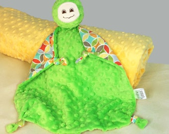 Turtle Security Blanket, Baby Blanket, Lovey with Lime Minky, Baby Boy or Baby Girl, Stuffed Animal, Gender Neutral Baby Toy, Plush Toy
