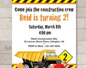 Construction Birthday Invitations - Construction Birthday Decorations - Dump Truck Birthday - Set of 12