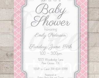 Girls Baby Shower Invitations - Pink and Gray - Girl Baby Shower Decorations - Girl Baby Shower Invites - Set of 12