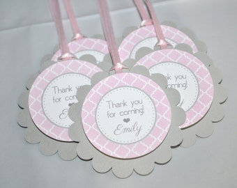 Girls Baby Shower Favor Tags - It's A Girl Favors - Pink and Gray - Girl Baby Shower Decorations - Baby Shower Thank You Tags - Set of 12