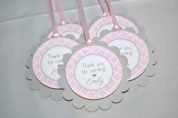 girls baby shower favor tags it 39 s a girl favors pink and gray