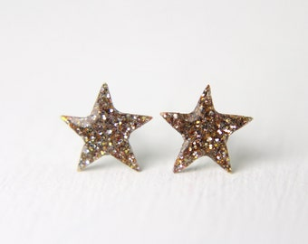 tiny star post earrings in gold sparkles  on sterling silver posts, star earrings, tiny earring, galaxy earrings, stocking stuffer, under 20
