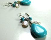 Howlite, Keishe White Pearl, Sterling Silver, on Sterling Silver Flor d' Lis Lever Back Ear Wires - Artisan Handmade