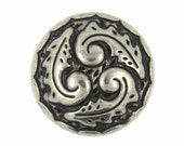 Metal Buttons - Ferns Swirl Retro Silver Metal Shank Buttons - 0.71 inch - 6 pcs