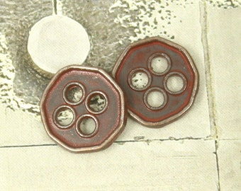 Metal Buttons - Heptagon Dark Red Metal Buttons , 4 Holes , 0.43 inch , 10 pcs