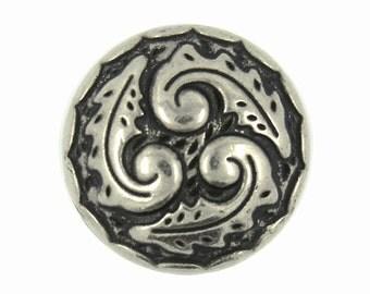 Metal Buttons - Ferns Swirl Retro Silver Metal Shank Buttons - 0.71 inch - 6 pcs