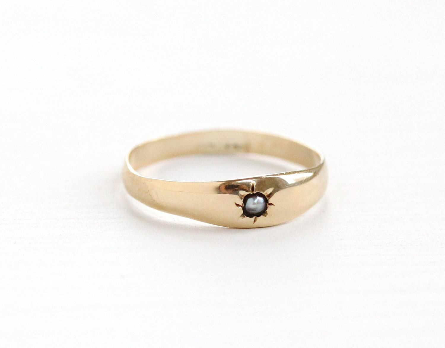 antique 10k rosy yellow gold pearl baby ring edwardian