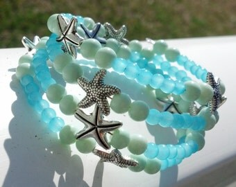 Aqua and Mint Starfish Bracelet