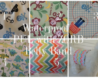 Plus ZORB, Waterproof PUL Dog Diaper, Belly Band, Stop Marking, WeeWrap,  Personalized