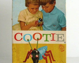 Vintage Boxed 1949 / 1966 COOTIE Bug GAME Schaper Printed & Made by IRWIN Plastic Toy Limited in Toronto Canada French English Christmas Fun