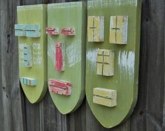 """Tiki Set """"TRANQUIL"""", Weathered Style Tiki Masks, Wood Sculpture, Tropical Island, Tiki Man, Tiki Bar"""