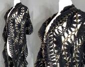 70s Crochet Shawl ,  Rare RIch Hippie Black Gold Hand Knit Crochet Scarf  , One Size