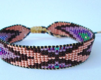 Huichol Native American Inspired Multi-Colored, Pink, Brown, Lavender Beaded Friendship Bracelet F