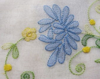 Embroidered Napkins organdy blue white shadow embroidery