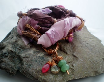 Multi Wrap Bracelet or Necklace - Beautiful Silk Wrap Gypsy Rustic Copper Jewellery