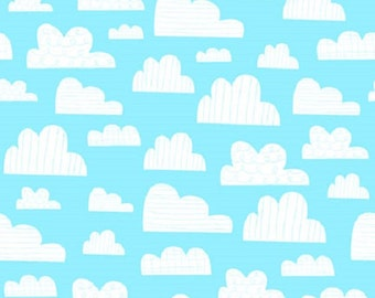 Clouds Sky Blue On The Go  Quilt Fabric by the 1/2 yard