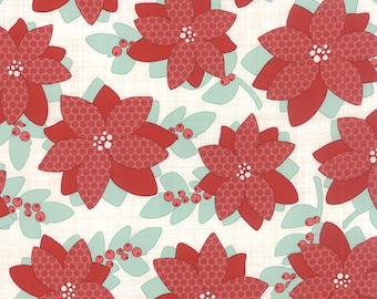 Poinsettia Floral on Ivory Winterberry Moda Quilt Fabric by the 1/2 yard