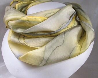 Hand Painted Silk Scarf - Quintessence Silk - Silk Scarf - Yellow Grey Rain