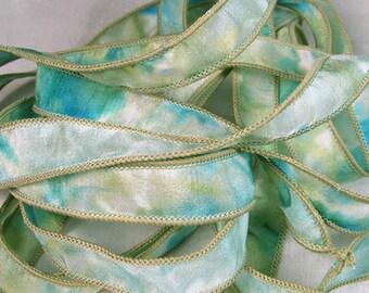 Hand Dyed Silk Ribbons - Hand Painted - Jewelry Bracelet Wrap - Wrisp Wrap - Quintessence - Aquagreen Reflections