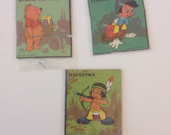 Set of Five Vintage Walt Disney Small Cardboard Puzzles Party Favors
