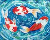 """Original Acrylic Painting of Koi Goldfish """"Three Fishes"""" 8x10 inches by Amanda Christine Shelton"""